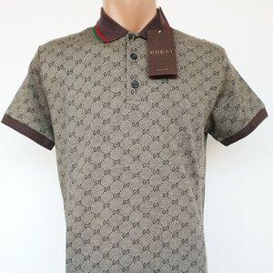 c6b996bc6e33 GUCCI Shirts   Gg Print Mens Polo Shirt Size 2xl Nwt   Poshmark